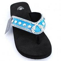 Western Crossed Guns Sandals Rhinestones Western Thin Sole Sandal Flip F... - $29.99