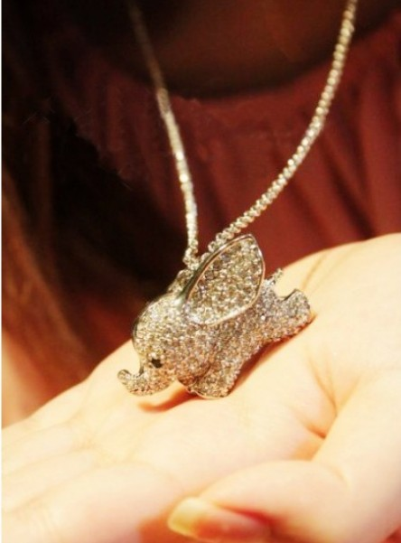Primary image for Rhinestone Flying Elephant Necklace(Silver)
