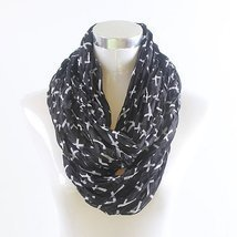 SMALL CROSS INFINITY SCARF - BLACK - £14.94 GBP