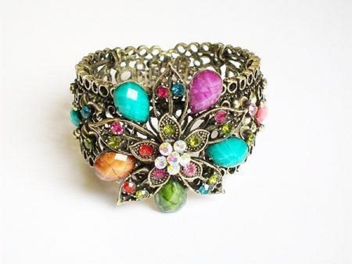 Vintage Inspired Multi-Colored Flower Motif Rhinestones Fashion Cuff Bracelet