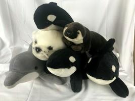 lot of 6 Marine Animal Plush Dolphin Shamu Otter Sea World - $24.74