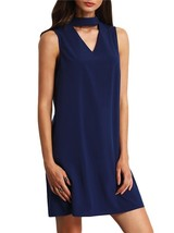 Bowknot V Collar Dark Blue Dress - $15.95