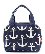 Navy Blue Nautical Anchor Print Canvas Small Insulated Lunch Tote Bag - $21.99