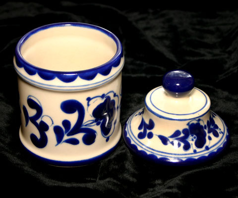 Collectible Pottery Canister with Blue Designs