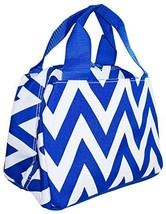 Ever Moda Royal Blue Chevron Insulated Lunch Bag 10-inch - $16.00
