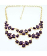 Fashion Faceted Gem Cluster Bib Necklace(Purple) - $8.69