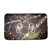 Rhinestone Camou Pistol Women's Leather Messenger Bag in Black A2908-2 (... - $14.00
