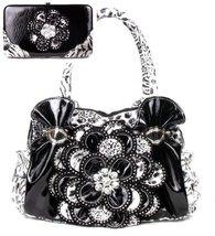 Leopard Rhinestone Flower Fashion Handbag Purse with Matching Wallet Set... - $54.99