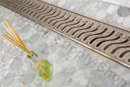 Royal Linear Shower Drain Ocean Wave 16 Stainless Steel by Serene Steam - $169.00