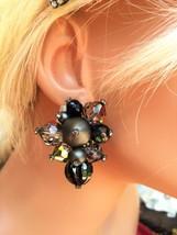 Vtg 1950's Big Chunky Beads & Rhinestones Clip On Earrings West Germany - $14.50
