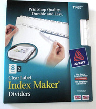 Avery Index Maker Clear Label Dividers with Label Sheet, White 8 Tab 11437 - $21.55
