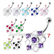 Fancy Jeweled Non Dangling Belly Bar - $13.24