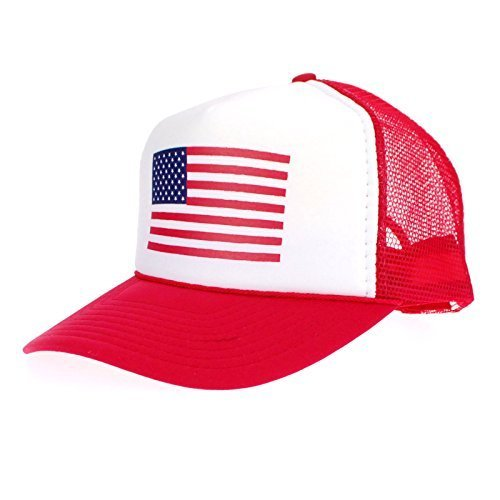American Flag Patriotic USA Classic 5 Panel Mesh Snap Back Trucker Hat Red