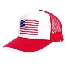 American Flag Patriotic USA Classic 5 Panel Mesh Snap Back Trucker Hat Red - ₨946.17 INR