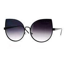 SA106 Gradient Flat Lens Bat Shape Metal Rim Cat Eye Circle Sunglasses B... - £7.71 GBP