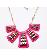Exaggerated Fan Shape Square Block Popular Necklace(Rose Red) - $8.80