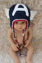 New Cute Handmade Captain America Baby Knit Crochet Hat Photo Prop 0-4T ... - $9.99