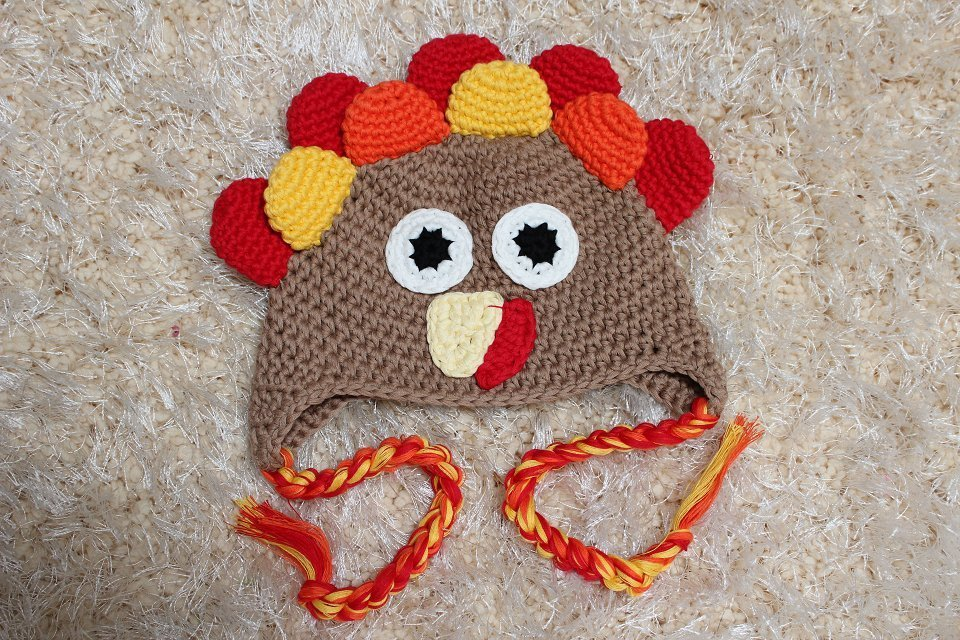 Handmade Tom Turkey Baby Knit Crochet Hat Newborn Photo Prop Thanksgiving Gift