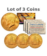 "BICENTENNIAL 1976 JFK HALF DOLLAR  24KT GOLD ""3 COIN LOT"" W/H COA & CAPS... - $24.45"
