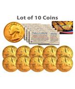 """BICENTENNIAL 1976 QUARTERS 24KT GOLD """"10 U.S. COIN LOT"""" W/H COA & CAPSULES! - $39.19"""