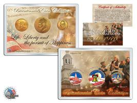 """BICENTENNIAL 1976 QUARTERS 24KT GOLD /""""10 U.S COIN LOT/"""" W//H COA /& CAPSULES!"""