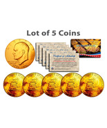 "BICENTENNIAL 1976 EISENHOWER IKE DOLLAR 24KT GOLD ""5 COIN LOT""! COA & CA... - $44.09"