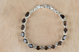 Handmade 925 Silver Faceted Smoky Quartz Gemstone Bracelet BJB-116-SQC - $35.99