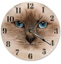 Sugar Vine Art Himalayan Cat Face Silent Non Ticking Round Battery Operated Hand - $24.29