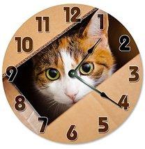 Sugar Vine Art Cat in Box Silent Non Ticking Round Battery Operated Handmade Han - $24.29