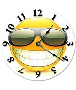 Sugar Vine Art Cool Smiley FACE with Sunglasses Clock Large 10.5 inch Cl... - $21.59
