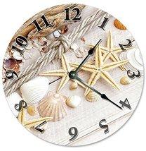 Sugar Vine Art Starfish and Sea Shells Silent Non Ticking Round Battery Operated - $24.29