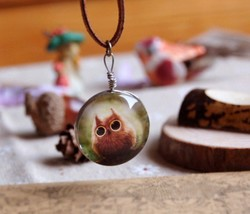 Forest Owl Double-faced Acrylic Pendant Necklace - £6.90 GBP