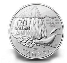 CANADA 2013 20$ PROOF SILVER COIN WHALES 99.99% PURE * FREE SHIPPING *  ... - $47.52