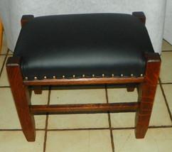 Solid Quartersawn Oak Black Leather Mission Footstool / Stool - $275.00