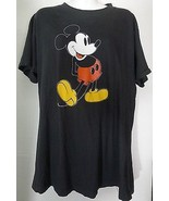 Vintage Disney Mickey Mouse T-Shirt Tee Shirt Black Extra Large XL Cotto... - $18.68