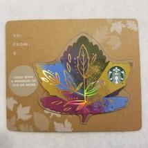 Starbucks Gift Card 2017 Leaf Die Cut Blue & Green Autumn Maple Leaf No $ Value - $8.00