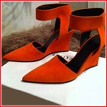 Orange Faux PU Leather Ankle Strap Pointed Toe 3 inch Wedge Heel Sandals
