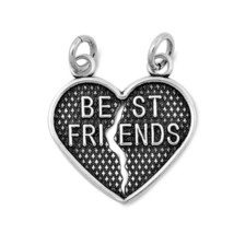 Sterling Silver Best Friend Heart 2 pendant set Gift Friendship Charm New d140 - $15.37