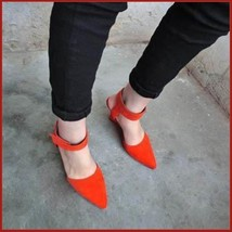 Orange Faux PU Leather Ankle Strap Pointed Toe 3 inch Wedge Heel Sandals image 2