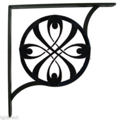 "Primary image for Wall Shelf Bracket Pair Of 2 Ribbon Pattern Wrought Iron 9.25"" L Crafting Accent"