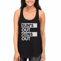 Sun's Out Guns Out Women's Black Tanktop Workout Tank Summer Vacation Beach Wear - $14.99+