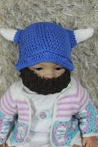 New Handmade Vikings Hat Blue Full Beard Hat Knit Crochet Hat Newborn Ba... - $10.99