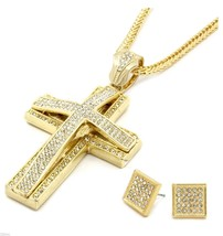 Mens Large Two Cross Gold Iced Out Pendant 36 Inch Necklace Franco Chain... - £21.30 GBP