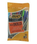 Bic Cristal Bold Colors 10 Pack Assorted Color Ball Point Style Pens - $3.52