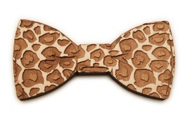 New Good Wood NYC new York Natural Wooden Leopard Magnetic Bow Tie image 1