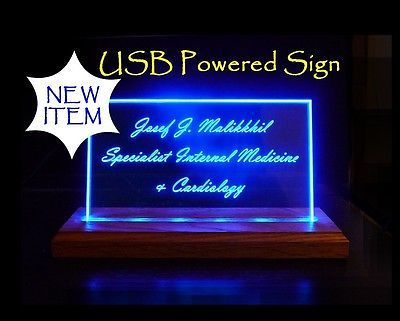 Personalized LED Name Plates, Business Sign, powered by PC, Battery, USB adapter image 3