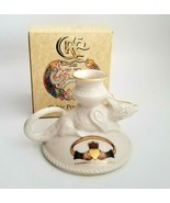 Irish Celtic Porcelain Ferdia Candle Holder Chameleon Claddagh Love Frie... - $26.00