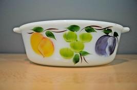 Vintage Fire King Fruit Handpainted Gay Fad Oval 1-1/2 Quart Casserole Dish - $15.19