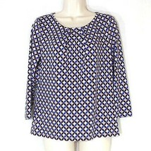 Talbots Pullover Top Shirt Women Size S Pleated Neckline Multi-color Geo... - $14.82