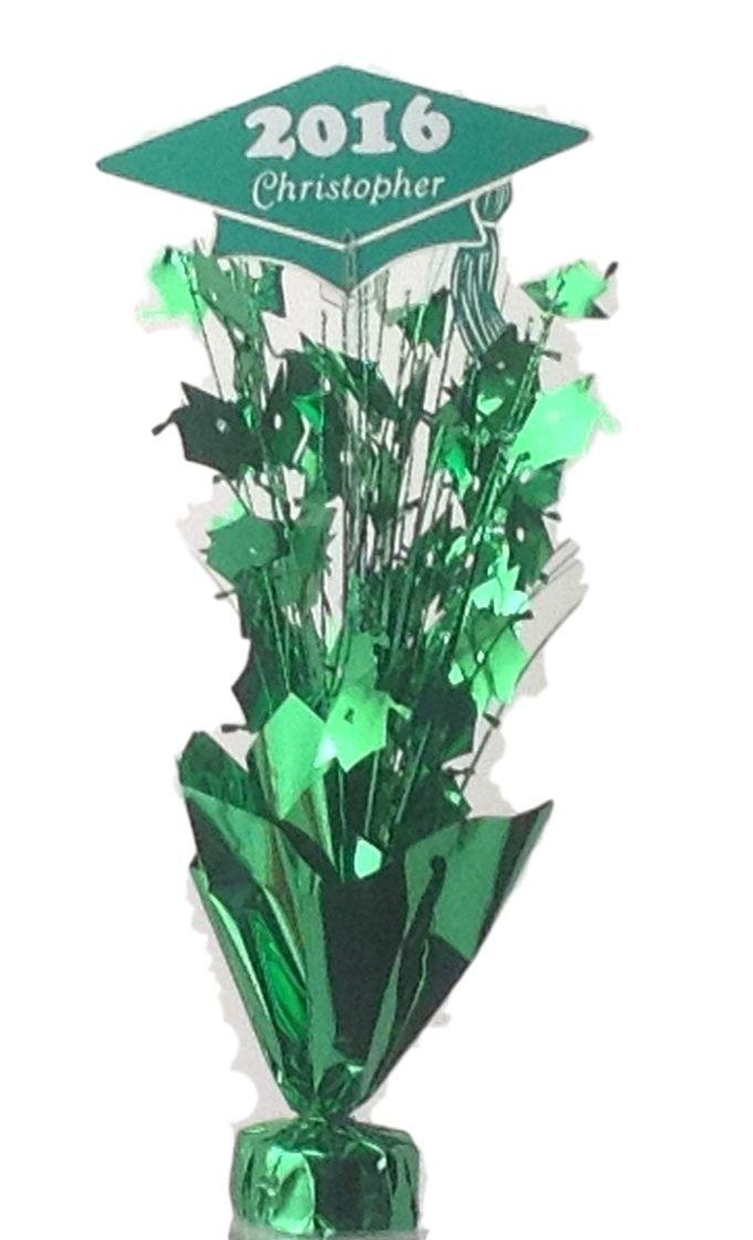 Personalized year name metallic green graduation balloon
